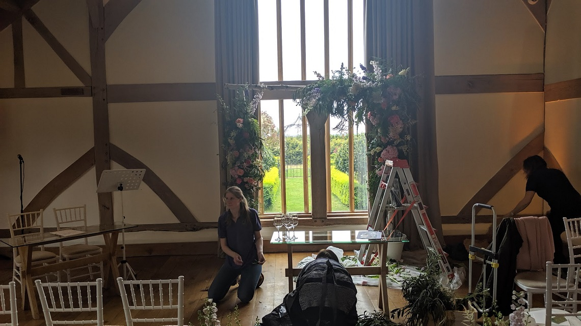 Sonning Flowers set up at cain manor